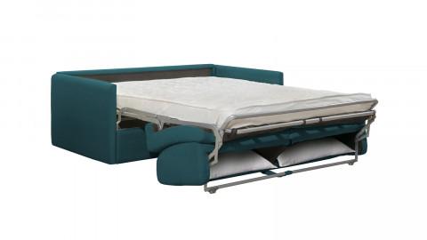 Canapé convertible 3 places en tissu bleu canard - Ouverture express - Couchage quotidien - Matelas HD 140 x 190 - Sienne