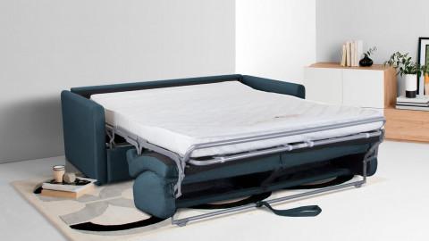 Canapé convertible 3 places en tissu denim - Ouverture express - Couchage quotidien - Matelas HD 140 x 190 - Collection Sienne