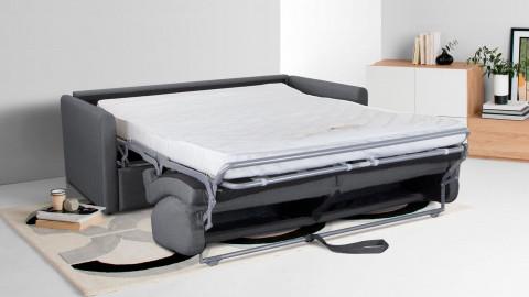 Canapé convertible 3 places en tissu gris - Ouverture express - Couchage quotidien - Matelas HD 140 x 190 - Collection Sienne