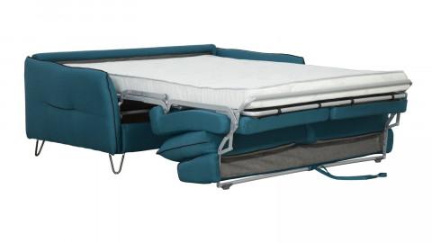 Canapé convertible 3 places en tissu bleu canard - Ouverture express - Couchage quotidien - Matelas HD 140 x 190 - Monza