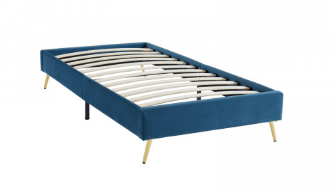 Lit simple JOHAN 90x190cm en velours bleu canard