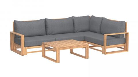 Salon de jardin 4 places en bois d'acacia coussins en tissu gris chiné - Collection Eden