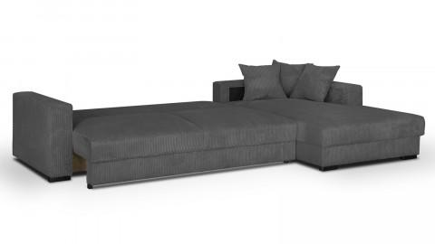 Canapé d'angle droit convertible 5 places en velours côtelé gris avec coffre de rangement - Collection Robin