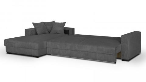 Canapé d'angle gauche convertible 5 places en velours côtelé gris avec coffre de rangement - Collection Robin