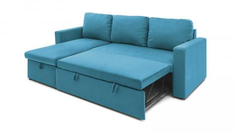 Canapé d'angle réversible convertible 3 places en velours bleu canard + coffre de rangement - Collection Lauren - ELLE DECO