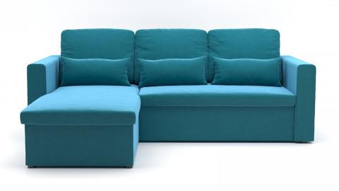 Canapé d'angle réversible convertible 3 places en velours bleu canard + coffre de rangement - Collection Lauren