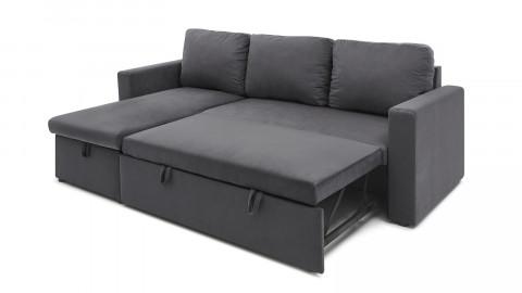 Canapé d'angle réversible convertible 3 places en velours gris graphite + coffre de rangement - Collection Lauren - ELLE DECO