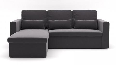 Canapé d'angle réversible convertible 3 places en velours gris graphite + coffre de rangement - Collection Lauren