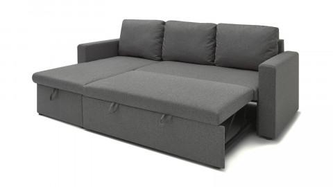 Canapé d'angle réversible convertible 3 places en tissu gris clair + coffre de rangement - Collection Lauren - ELLE DECO
