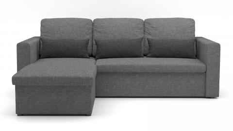 Canapé d'angle réversible convertible 3 places en tissu gris clair + coffre de rangement - Collection Lauren
