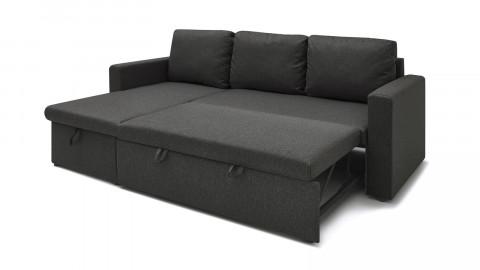 Canapé d'angle réversible convertible 3 places en tissu gris anthracite + coffre de rangement - Collection Lauren - ELLE DECO