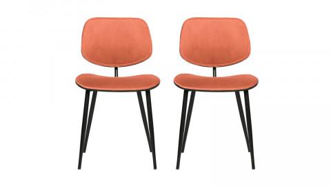 Lot de 2 chaises en velours corail piètemen métal - Collection Jackie - Woood