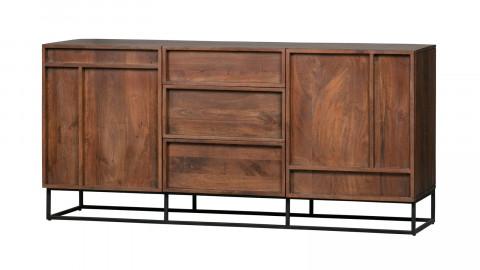 Buffet en manguier 2 portes 3 tiroirs piètement en métal - Collection Forrest - Woood