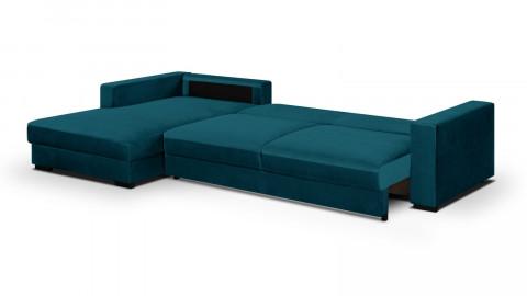Canapé d'angle gauche convertible 5 places en velours bleu canard avec coffre de rangement - Collection Robin