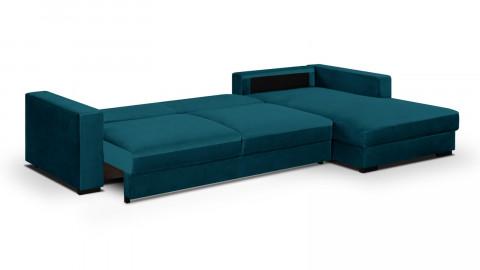 Canapé d'angle droit convertible 5 places en velours bleu canard avec coffre de rangement - Collection Robin