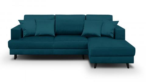 Canapé d'angle droit convertible 4 places en velours bleu canard - Collection Marceau