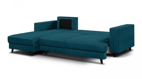 Canapé d'angle gauche convertible 4 places en velours bleu canard - Collection Marceau