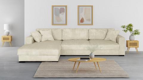 Canapé d'angle gauche convertible 5 places en velours côtelé beige avec coffre de rangement - Collection Robin