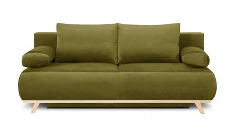 Canapé convertible 3 places avec coffre de rangement en velours vert olive - Collection Laria