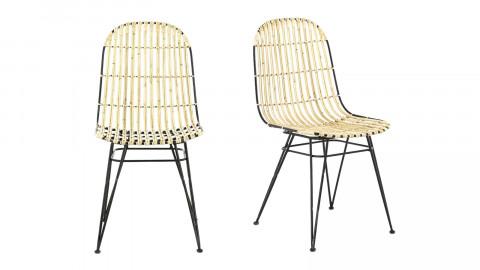 Lot de 2 chaises en roti naturel - Melody