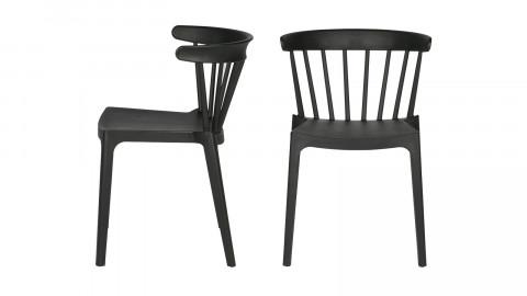 Lot de 2 chaises design en plastique noir - Bliss - Woood