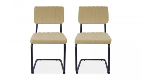 Lot de 2 chaises en velours beige - Collection Keen - Leitmotiv