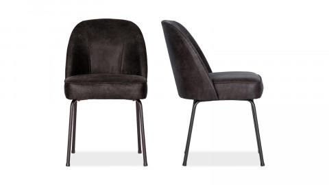 Lot de 2 chaises en cuir noir - Collection Vogue - BePureHome