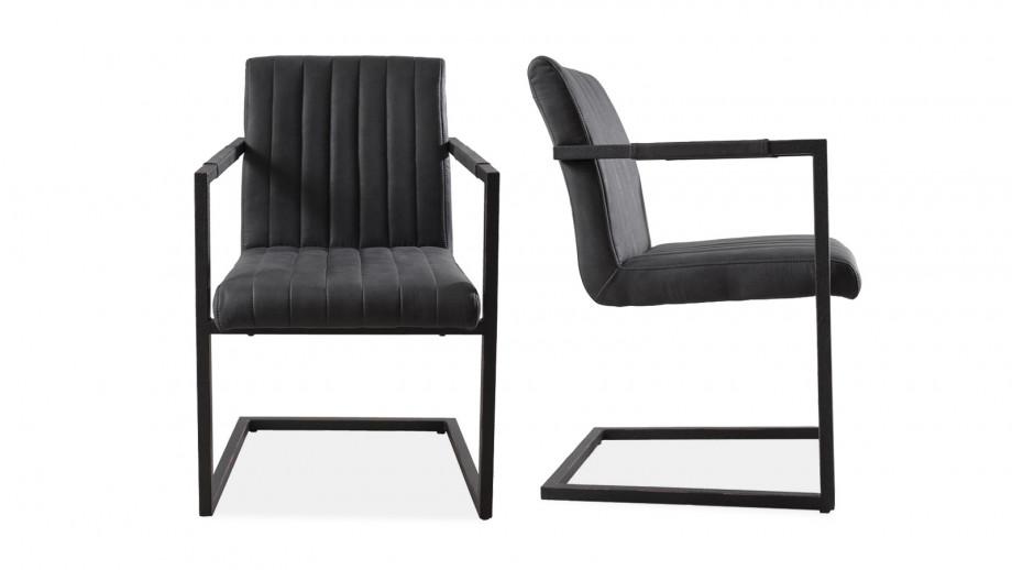 Lot de 2 fauteuils en tissu gris anthracite piètement en métal - Collection Fanny
