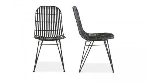 Lot de 2 chaises en kubu noir – Melody