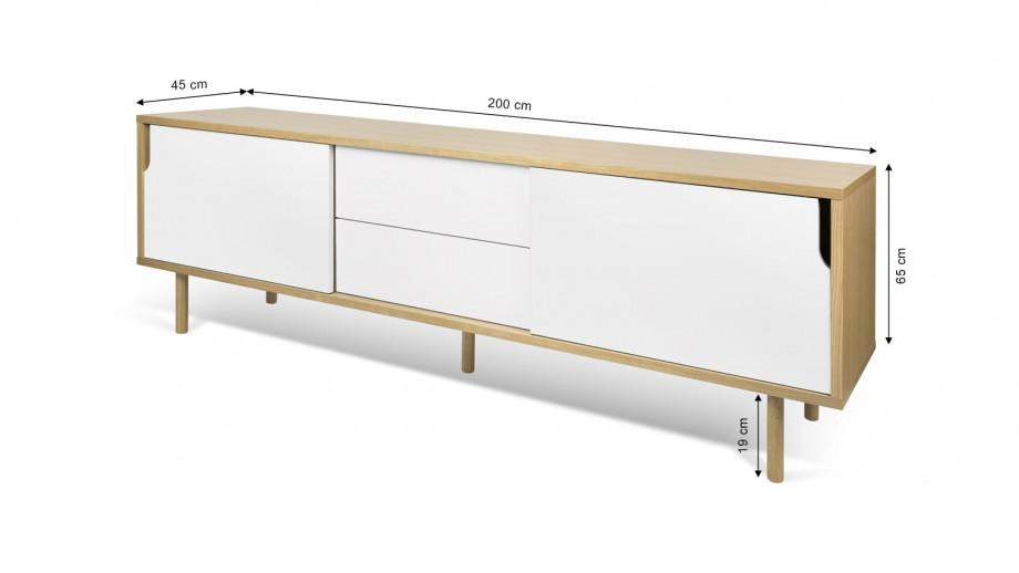 Buffet bas en contreplaqué 201cm 2 portes 2 tiroirs blancs piètement en contreplaqué - Collection Dann - Temahome