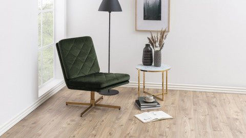 Chaise pivotante en velours vert piètement en métal doré - Collection Carrera