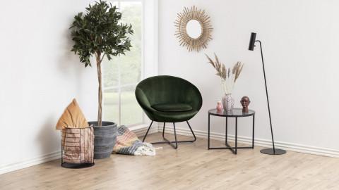 Fauteuil rond en velours vert piètement métal - Collection Center