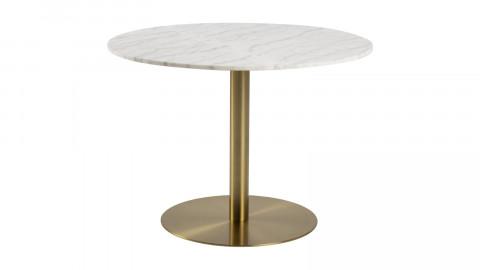 Table à manger ronde en marbre et piètement doré 105cm - Corby