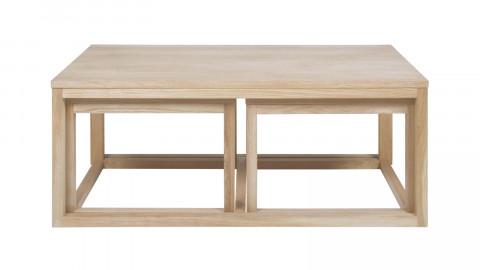 Lot de 3 tables gigognes en chêne clair 120x60x50 – Collection Cornus