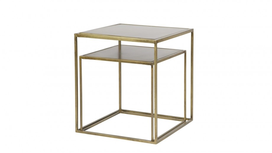 Lot de 2 tables basses 40x40cm en métal et laiton – Collection Metallic