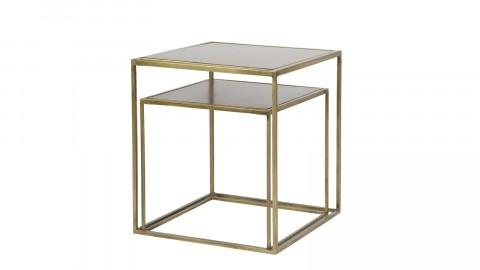 Lot de 2 tables basses 40x40cm en métal et laiton – Collection Metallic