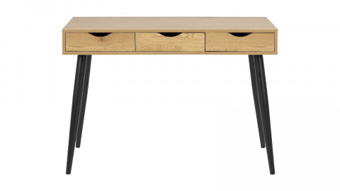 Bureau scandinave 3 tiroirs en bois naturel piètement noir - Collection Neptun