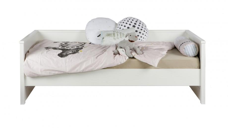Lit canapé blanc en pin brossé – Collection Jade – Woood