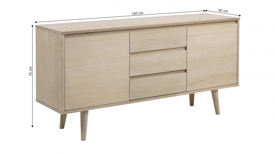 Buffet bas 2 portes 3 tiroirs en chêne clair – Collection Nagano