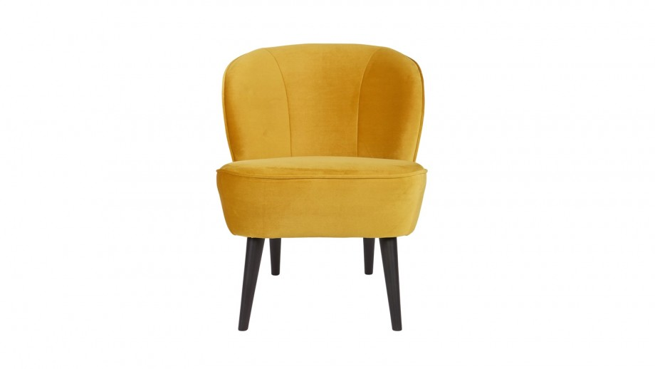 Fauteuil en Velours ocre – Collection Sara – Woood