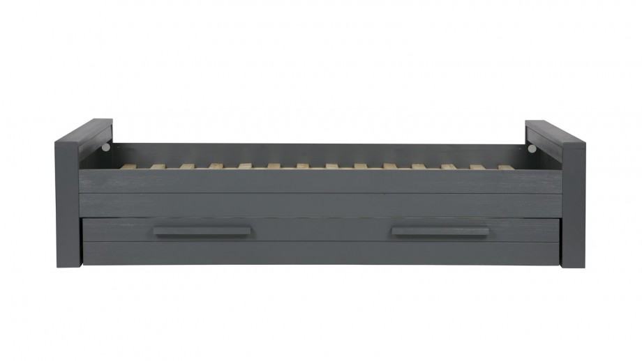 Lit 90 x 200 cm en pin brossé anthracite – Collection Dennis – Woood