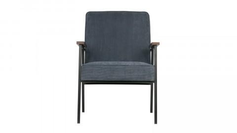 Fauteuil bergère en velours synthétique bleu acier, structure en métal – Collection Doris – Woood