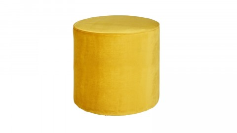 Pouf haut rond en velours ocre – Collection Sara – Woood