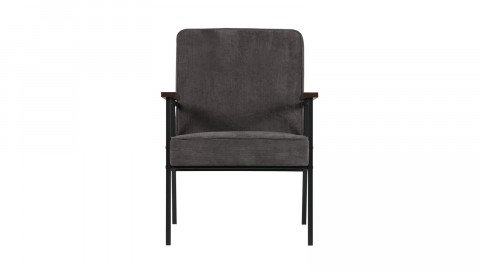Fauteuil bergère en velours synthétique gris anthracite, structure en métal – Collection Doris – Woood