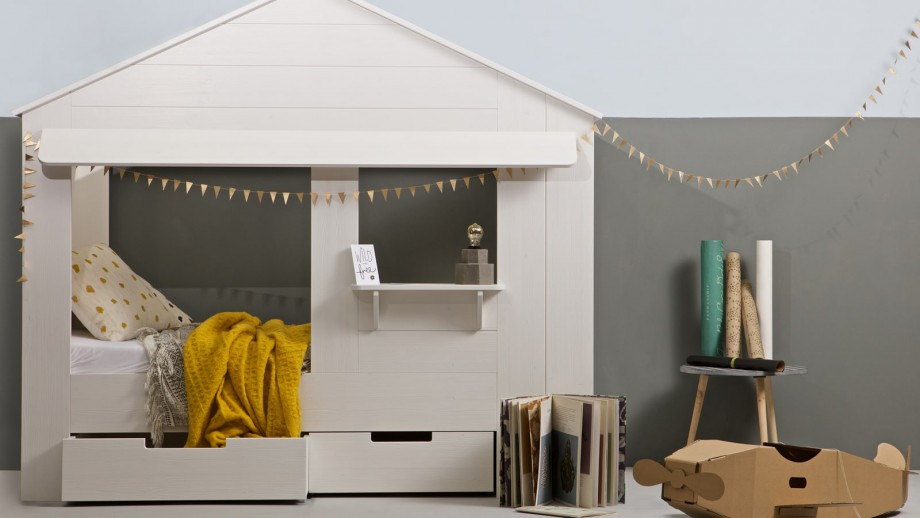 Structure de lit cabane en pin blanc (sans tiroirs) – Collection Huisie – Woood