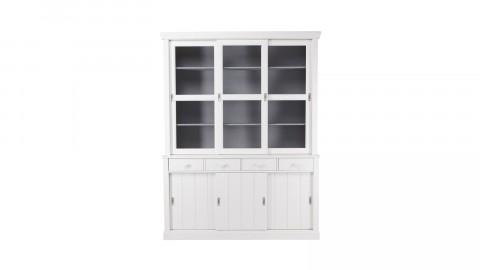 Large buffet en pin massif blanc, 4 tiroirs, 3 étagères avec portes coulissantes et 3 placards – Collection Lagos – Woood