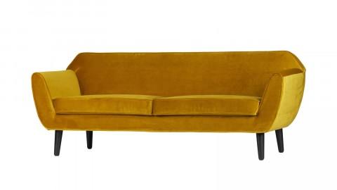 Canapé 2,5 places en polyester ocre piètement en bois - Collection Rodéo