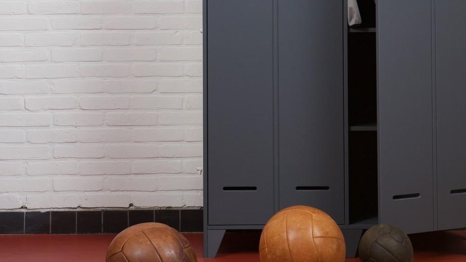 Vestiaire 2 portes droites en pin anthracite – Collection Stijn