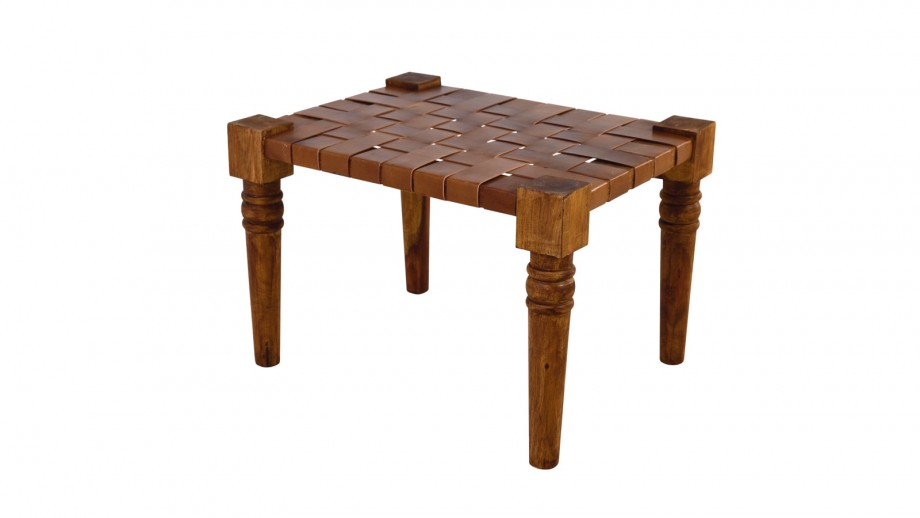 Tabouret en bois et cuir – Collection Buff