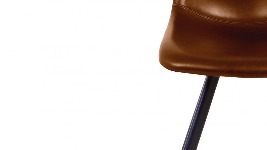 Lot de 2 chaises en simili cuir marron – Collection Carl